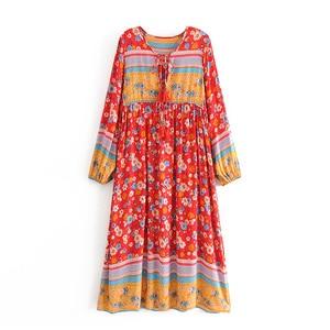 Image 2 - Vintage Chic women flare sleeve purple Floral print beach Bohemian v neck Maxi dress Ladies rayon Summer Boho dress