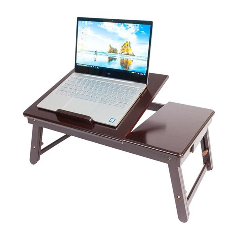 Ergonomics Adjustable Laptop Desk With USB Cooling Fan For Lap Table Bamboo Foldable Breakfast Serving Bed Tray Cozy Dark Coffee