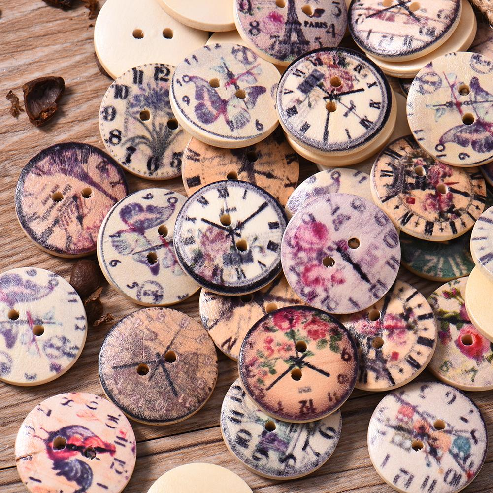 Nice 50pcs 2 Holes Wood Buttons Craft Scrapbooking Sewing Clothing Accessories 20mm Buttons Clock Painted Vintage Home Diy Crafts With The Most Up-To-Date Equipment And Techniques