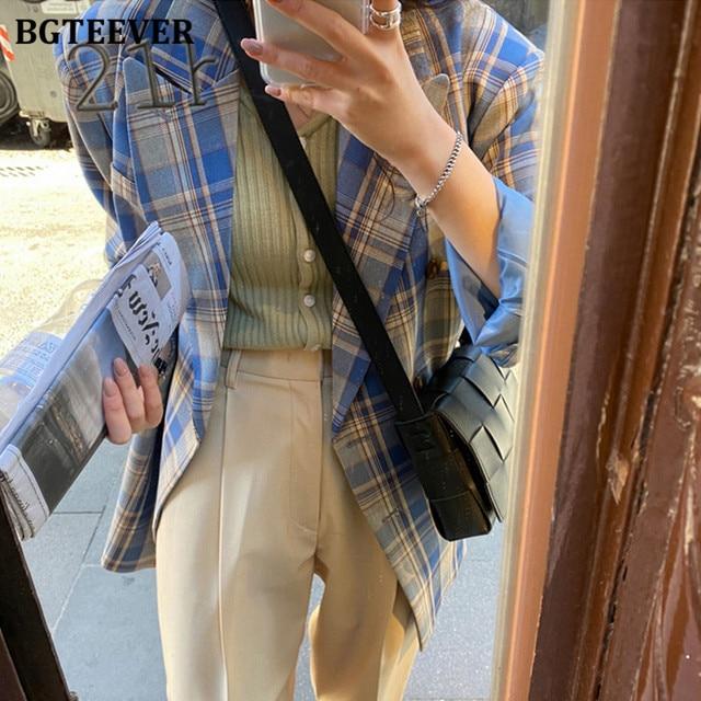 BGTEEVER-veste Vintage à carreaux pour femme, manches longues, veste Chic et élégante, croisé, automne 2020 5