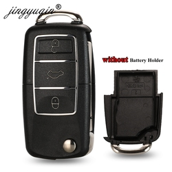jinyuqin No battery Holder Flip Car Key Shell For Vw Jetta Golf Passat B5 B6 Beetle Polo Bora Caddy MK5 Skoda 3BTN Remote Case