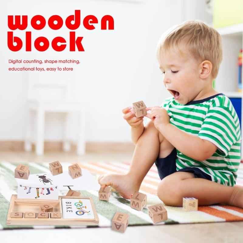 Letras Montessori de juguete de madera para bebé, letras de juego de palabras en inglés, bloques de enseñanza de cartón, palabra de hechizo para regalo para niños