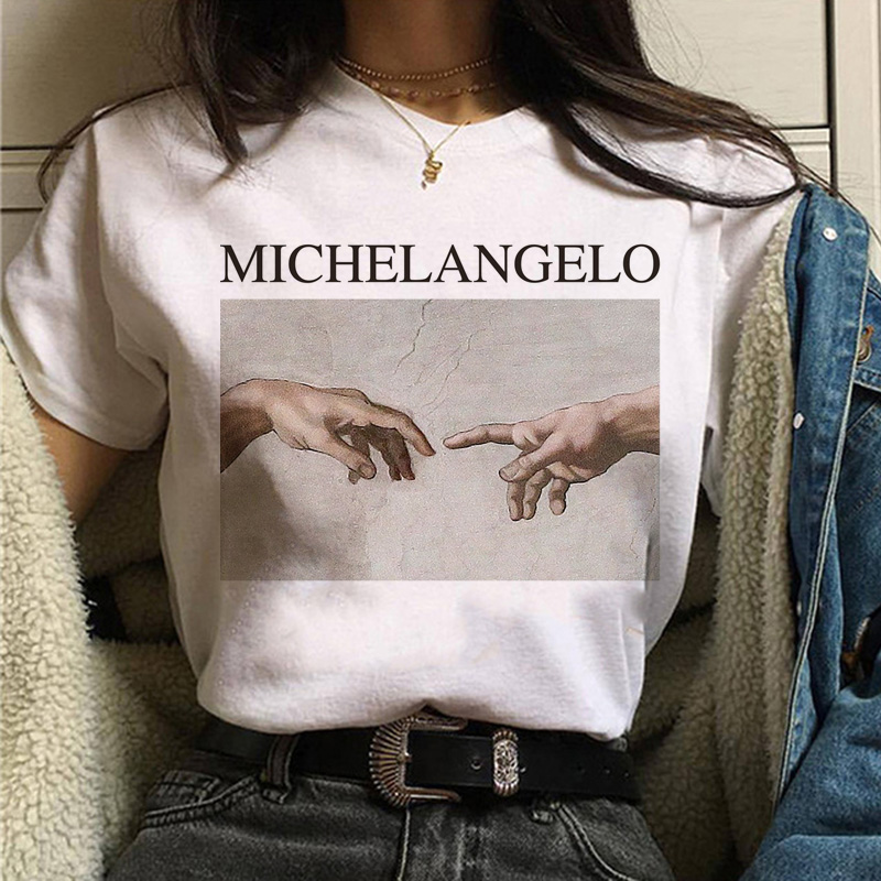Aesthetic T Shirt Vaporwave Michelangelo Women Fashion New Harajuku Tshirt Casual Korean Style Graphic Hip Hop T-shirt Female