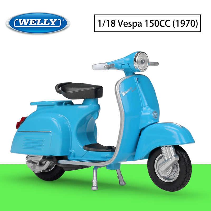 WELLY Diecast 1:18 Motorfiets Speelgoed VESPA 946/125CC/150CC Simulator Bike Legering Model Auto Metalen Speelgoed Voor Kinderen gift Collection