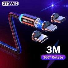 Gtwin magnético usb cabo para iphone xs max carregamento rápido micro usb cabo ímã carregador tipo c para samsung s10 xiaomi fio