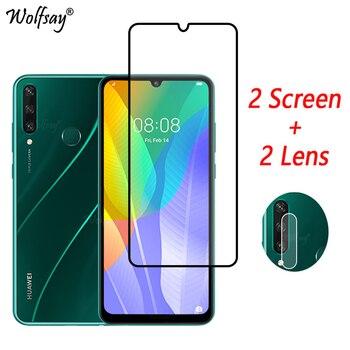 Перейти на Алиэкспресс и купить Закаленное стекло с полным покрытием для Huawei Y6p, Защита экрана для Huawei Y6p Y5p Y7p Y8p Y9S Y6S, стекло для камеры Huawei Y6p