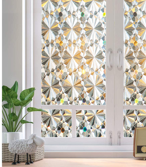 Privacy Frosted Window Film No-Glue Self Adhesive 3D Static Decorative Glass Stickers for Home Kitchen Office Anti-UV 1