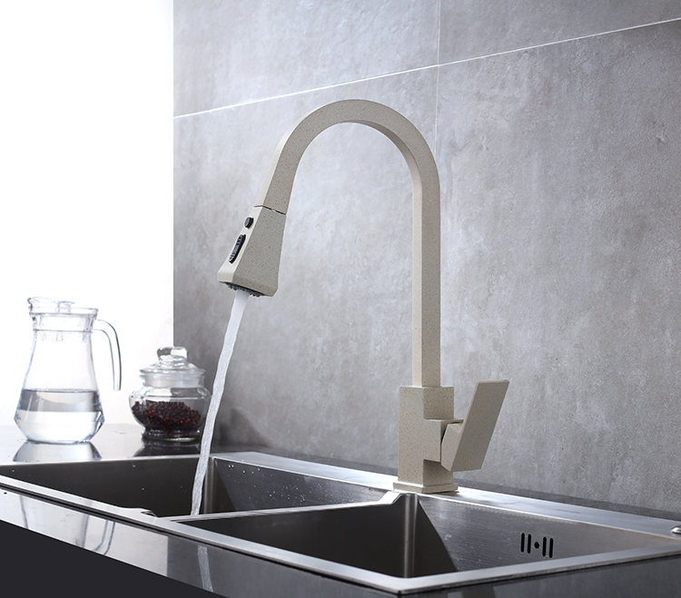 Black Kitchen Faucet Pull Out Kitchen Tap Single Hole Handle Swivel 360 Degree Hot Cold Water Mixer Tap Kitchen Water Tap Faucet
