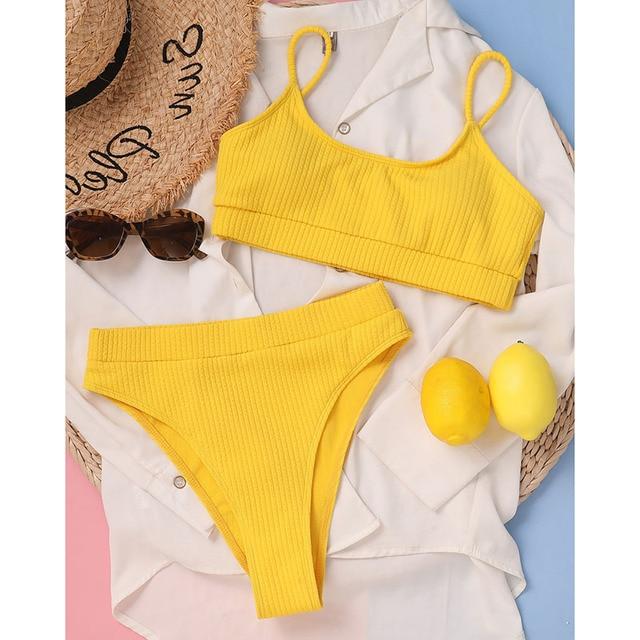 INGAGA High Waist Bikinis Swimwear Women Push Up Swimsuits Ribbed Bathing Suits High Cut Sexy Biquini 2021 Summer Beachwear 5