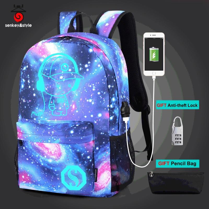 Anime Luminous Fashion Cool Laptop Backpack Shoulder School Men Bag Gift