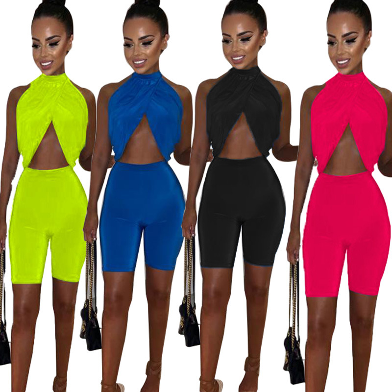 2019 Summer EBay Amazon Hot Selling Cross Border Europe And America Sleeveless Ultra-stretch Piece Sexy Large Size Set WOMEN'S D