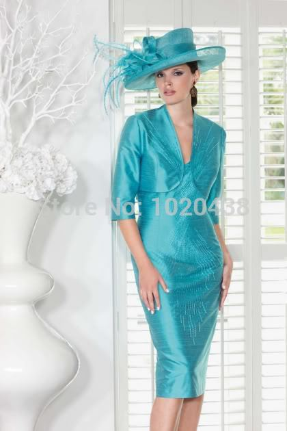 Free Shipping 2016 New Plus Size Blue Taffeta Beading Knee-length Free Jacket Vestido De Noiva Custom Mother Of The Bride Dress