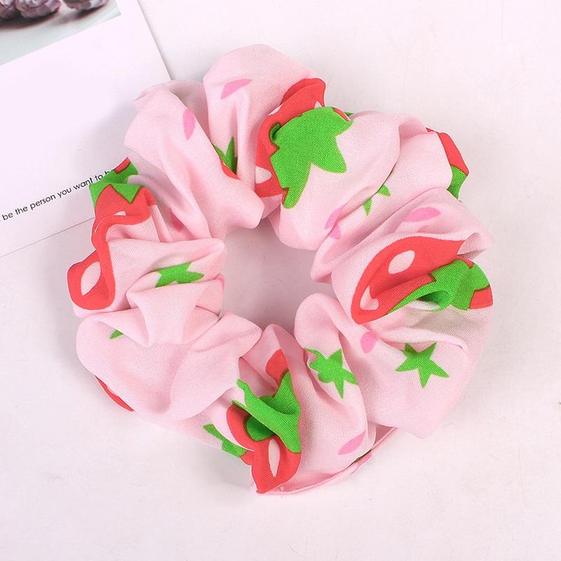 Корейский женский ободок для волос для девочек, полосатые женские резинки для волос, конский хвост, Женский держатель, веревка с ананасовым принтом, аксессуары для волос - Цвет: Розовый