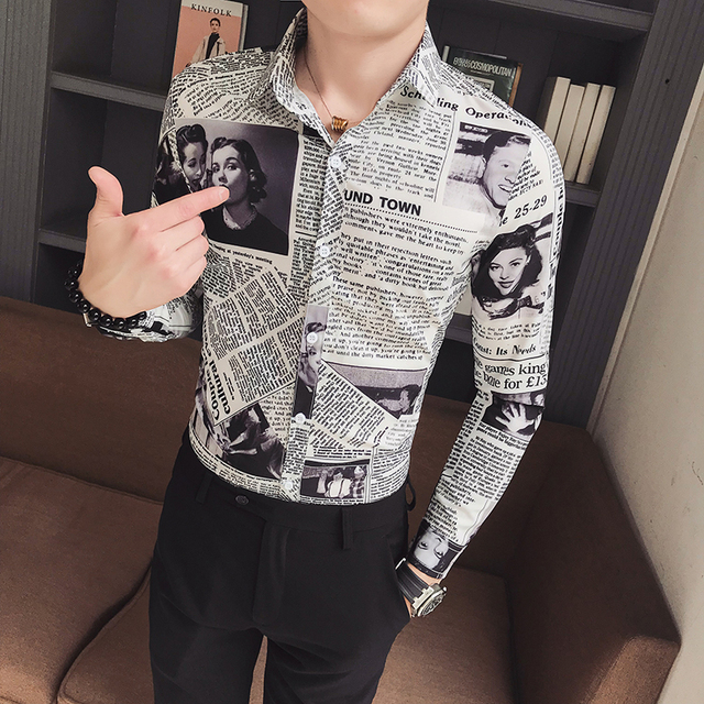 Large Size M-6XL 2019 New Mens Fashion Boutique Printed Casual Long-sleeved Shirt Design Dress Tuxedo Slim Fit Shirt Male 4
