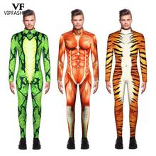 VIP FASHION 2019 Halloween Cosplay Costumes For Men Leopard 3D Printing Animal Zentai Snake Muscle Bodysuit Jumpsuits