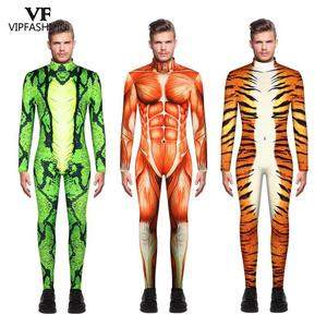 Image 1 - VIP FASHION 2019 Halloween Cosplay Costumes For Men Leopard 3D Printing Animal Zentai Snake Muscle Bodysuit Jumpsuits