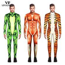 Vip Mode 2019 Halloween Cosplay Kostuums Voor Mannen Luipaard 3D Printing Animal Zentai Snake Spier Bodysuit Jumpsuits