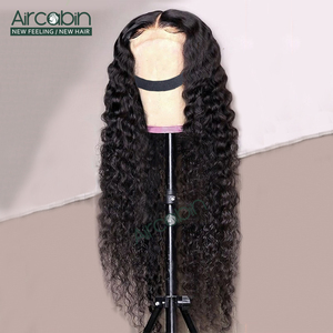 "Aircabin 6x6 Lace Closure Wigs For Women Brazilian Deep Wave Human Hair Wigs Glueless 150 Density 32"" 30"" Long Size Wig Non-Remy(China)"