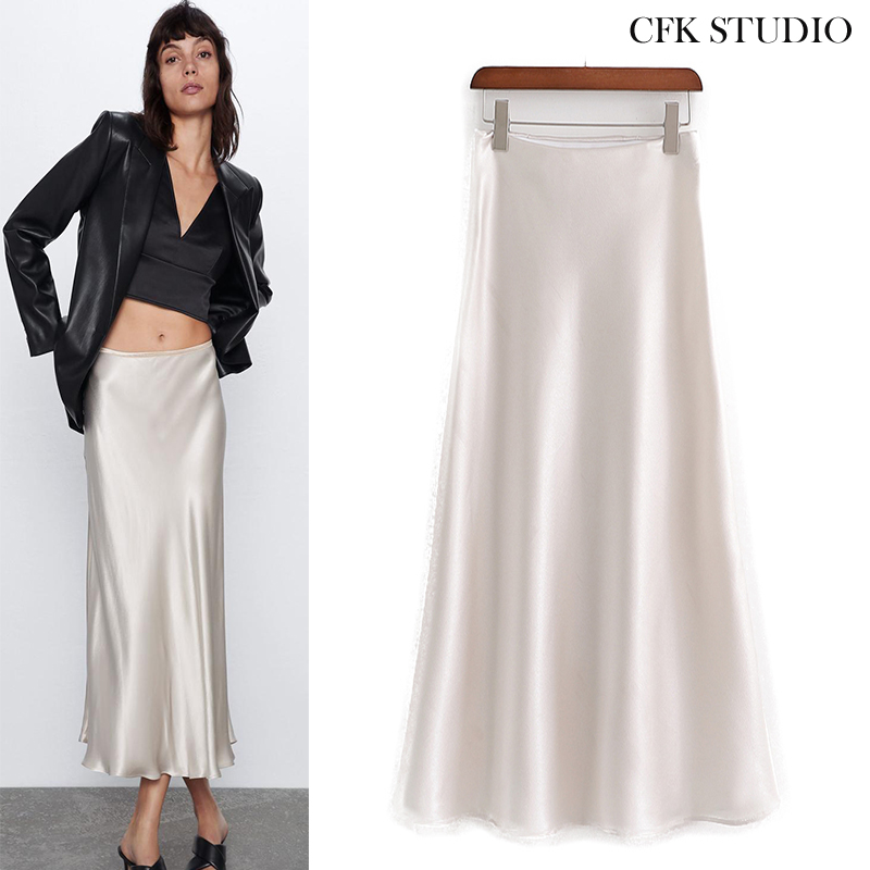 Women Midiskirt With High Waist Solid Silk Midiskirt 2020 New Summer White Elegant A-line Casual Loose Midiskirt