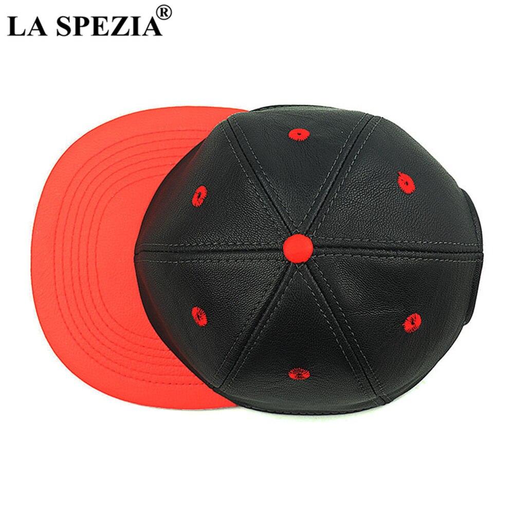 LA SPEZIA en cuir véritable casquettes de Baseball hommes femmes en peau de mouton papa chapeaux automne hiver mâle en cuir véritable noir rouge Snapback