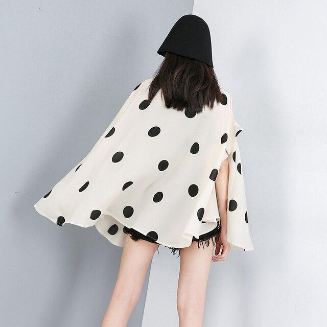 [EAM] 2021 New Spring Summer Lapel Half Sleeve Black Dot Printed Loose Temperament Big Size Shirt Women Blouse Fashion JW576 4