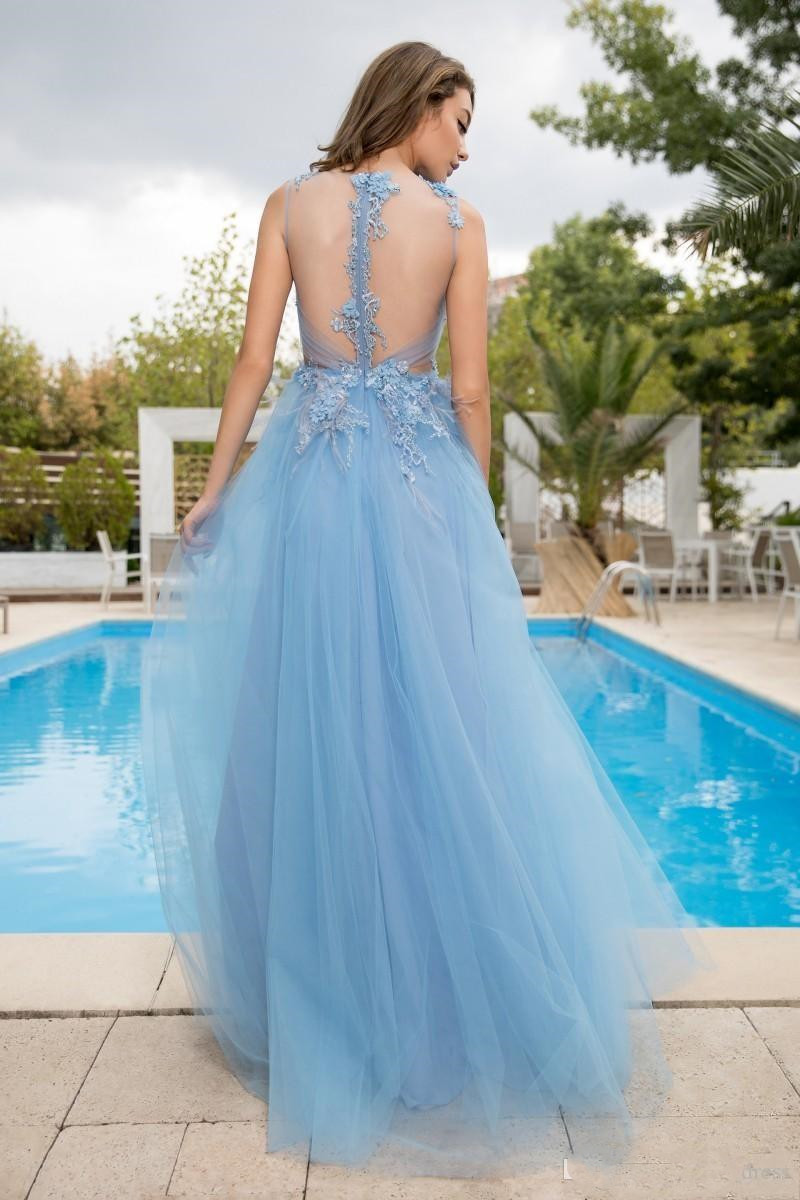 Light Blue Prom Dresses Long A Line Side Split Deep V Neck Lace Appliqued Floor Length Evening Gowns Elegant Evening Prom Dress
