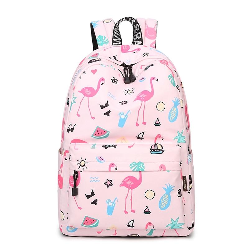 Original Designer Backpacks Brand Women Cute Flamingo Printing Backpack For Teenage Girls Laptop School Bags Mochila 2018