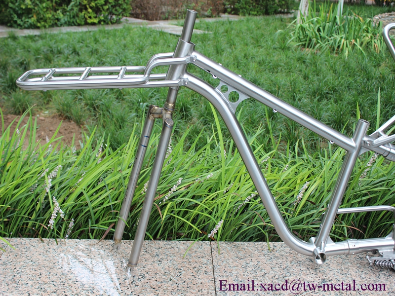 titanium cargo bike frame with 44mm head tube and BSA thread BB shell thru axle dropouts rear rack