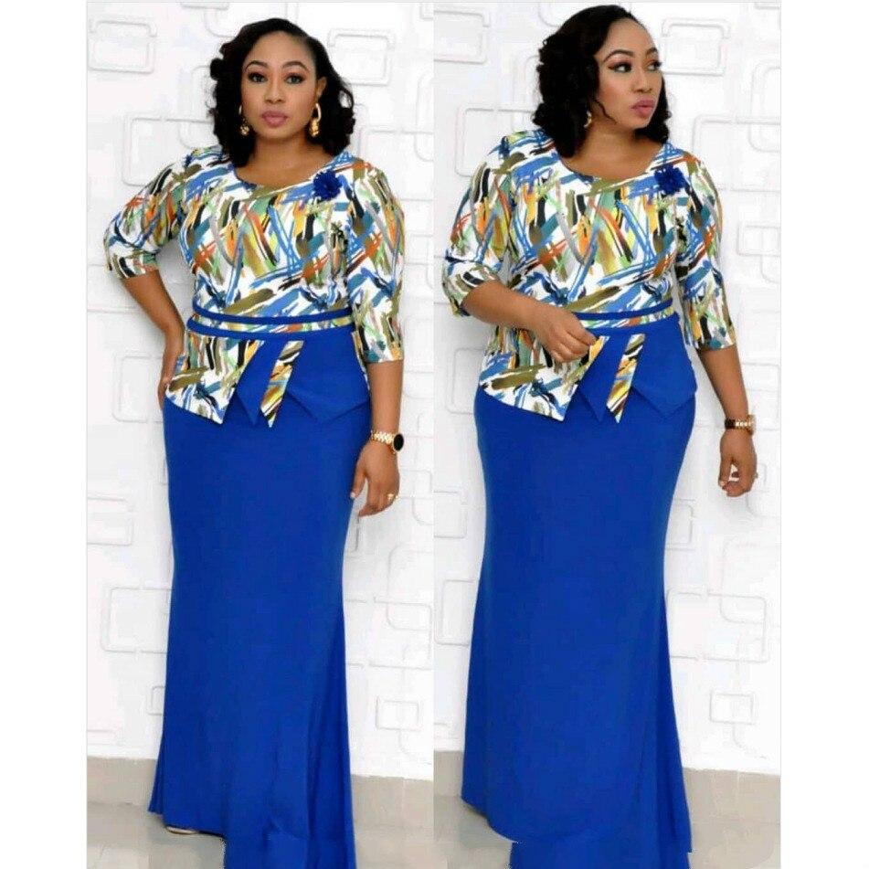 2019 Autumn Elegent Fashion Style African Women Printing Plus Size Dress XL-4XL