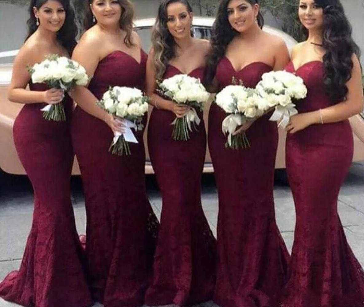 Elegant Burgundy Sweetheart Lace Mermaid Cheap Long Bridesmaid Dresses 2019 Wine Maid of Honor Wedding Dress Prom Party Gowns image