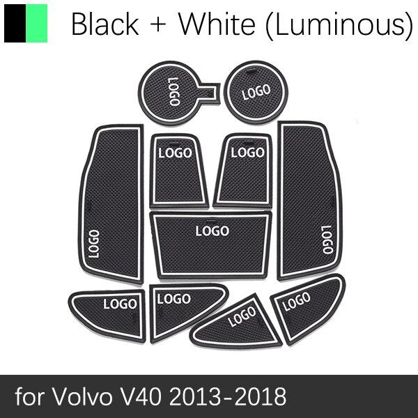 Противоскользящий резиновый подстаканник для ворот для VOLVO V40 2013 Коврик для двери V40CC CC кросс-кантри R дизайн - Название цвета: White Luminous