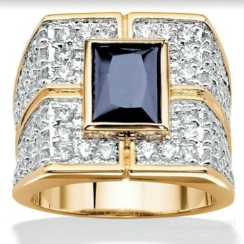 Vintage Unique High Quality Sapphire Beryl with Cubic Zirconia Golden Ring for Woman Men Fine Jewelry Gift Cocktail Ring Fashion image