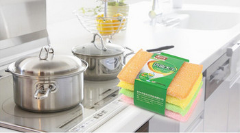 2020 Scrub King Cleaning Rag Sponge Material Dish Towel Non-Stick Oil Scouring Pad Durable Clean And Hygienic Imported Plastic image