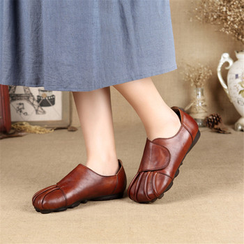 Hand-sewn Leather Loafers Cowhide Spring Autumn Casual Shoes Women Flats Soft Women Shoes 2020 Genuine Leather Flat Shoes Woman