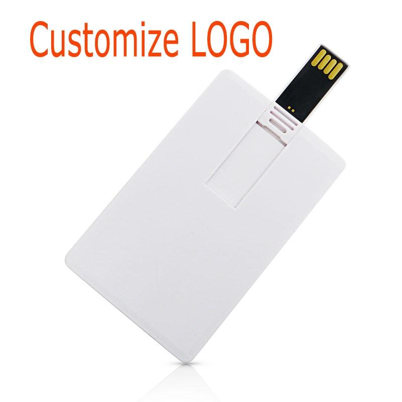 Белая пластиковая кредитная карта/карта Пользовательский логотип бизнес-дизайн Usb флеш-накопитель 4 ГБ 8 ГБ 16 ГБ 32 ГБ (10 шт. можно напечатать л...
