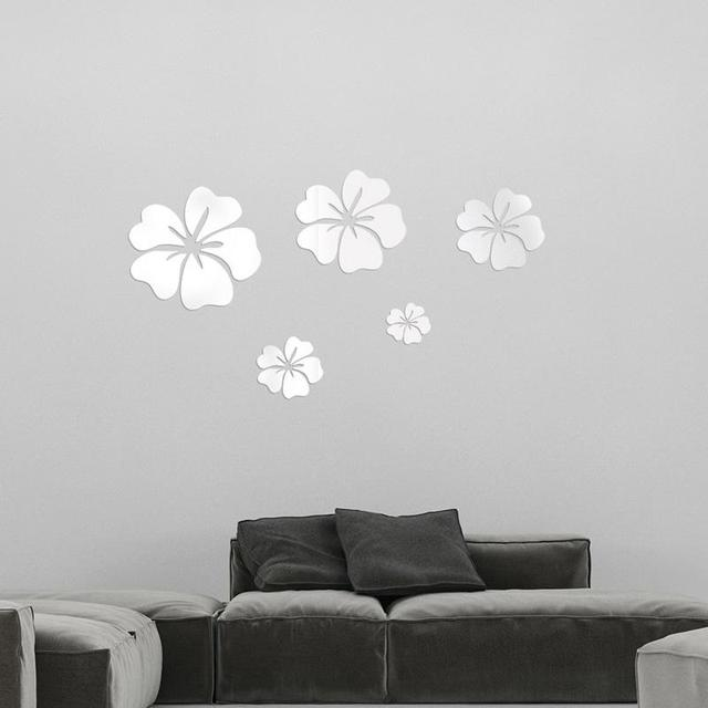 5 Pcs Hibiscus Flower Background Wall Stickers 3D Home Decoration Wall Art DIY Silver Mirror Wall Decorative Home Accessories 4