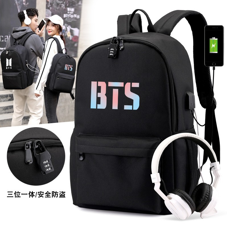 New Style Hot Selling Bulletproof Juvenile Starry Bag School Bag BTS Backpack Student Bags USB Shackles Bag