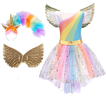 Girls Unicorn Costume Princess Dress Prom Cosplay Tutu Dress With Headband Summer Dress For Girls Halloween Birthday Party glittery unicorn princess pageant flower girl tutu dress kids party costume with headband and wings halloween cosplay girl dress
