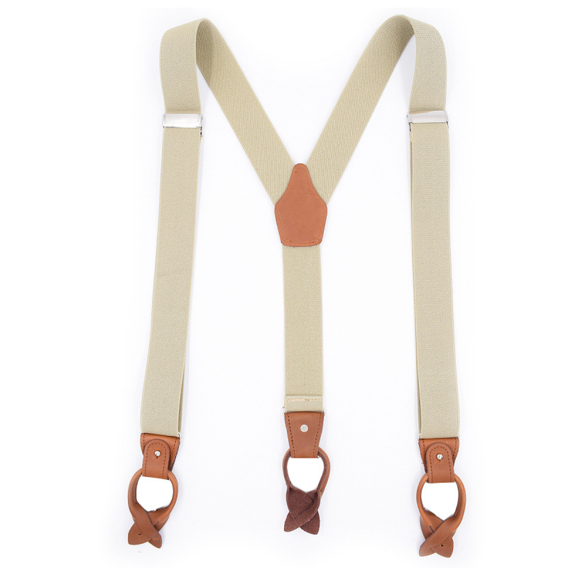Cross Border Supply Of Goods Men Button Suspender Strap Adult Casual Genuine Leather Pants Suspender Strap Currently Available A