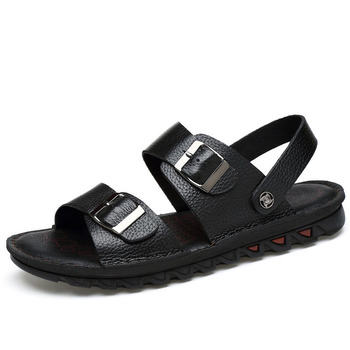 Skórzane ręcznie grube sandały na platformie męskie letnie skórzane buty na plażę Plus rozmiar 46 47 Casual Outdoor slajdy męskie klapki tanie i dobre opinie YMXJYWL Skóra Split Podstawowe LEISURE RUBBER Przycisk Mieszkanie (≤1cm) Pasuje prawda na wymiar weź swój normalny rozmiar