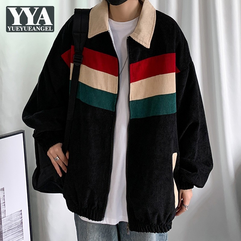 Vintage Velvet Jacket Mens Casual Zipper Lapel Loose Fit Striped Coat Streetwear Hip Hop Black Jackets New Fashion Men Outerwear