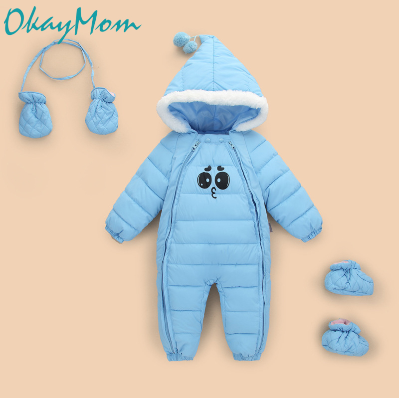 OkayMom Newborn Warm Hooded Snow Wear Overalls Toddler Baby Winter Coats Clothes Baby Gloves Shoes Snowsuit Down Parkas Clothing