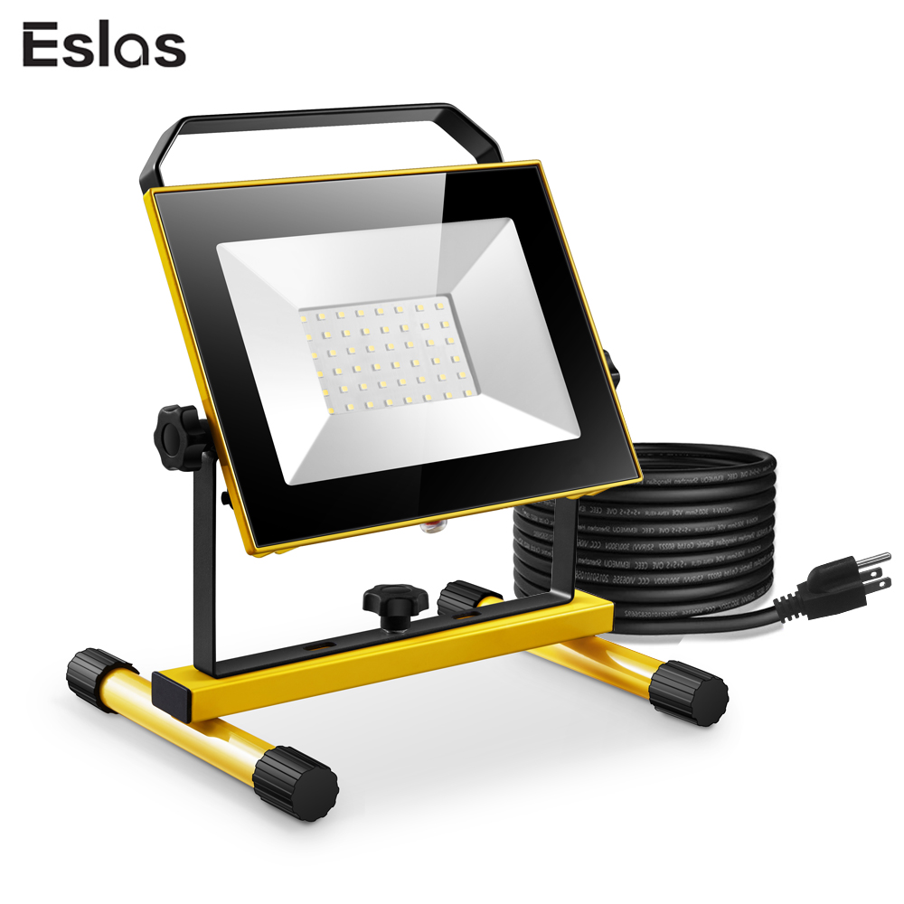 Eslas Portable LED Work Light AC 110V 30W 50W Floodlight USA Plug IP65 Waterproof Outdoor For Garage Warehouse