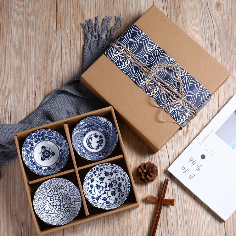 Gift Box Set Blue and White Porcelain Rice Bowl Ceramic Tableware Soup Salad Bowl Mixing Small Bowl Can Be Use Decorative image