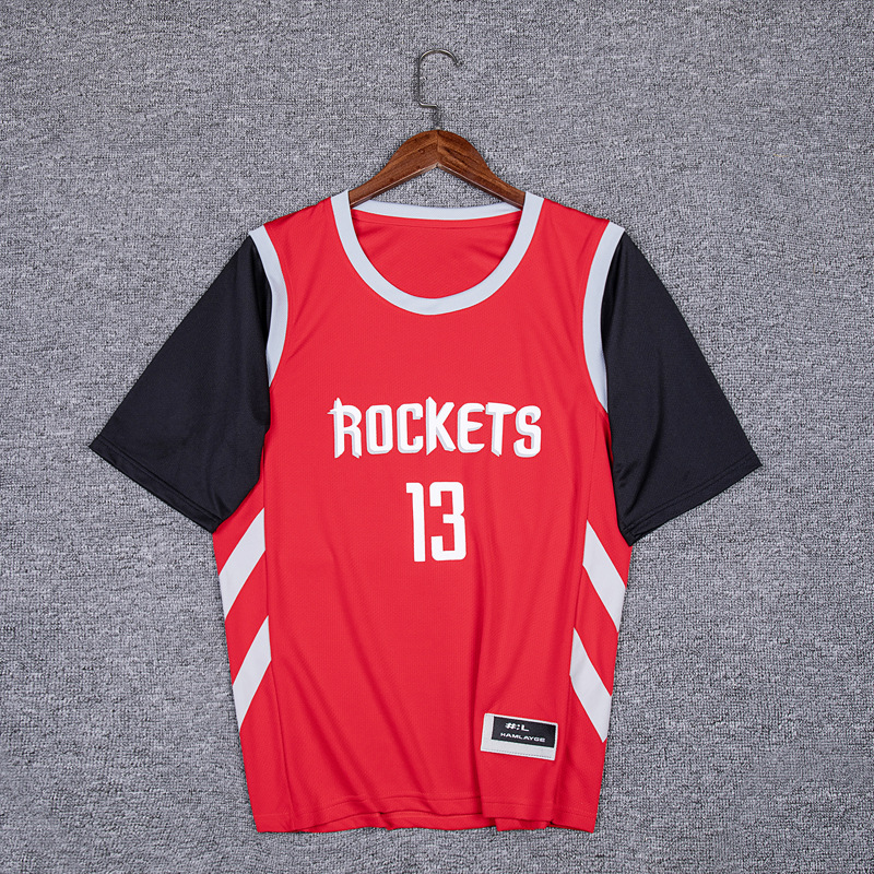 Houston Rockets 13 Harden Crew Neck Short Sleeve Mock Two-Piece Men And Women Adult Athletic T-shirt Red Basketball Clothes