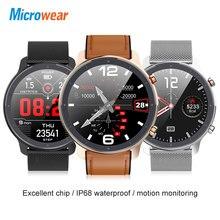 Nuovo arrivo Microwear L11 Astuto Della Vigilanza Dello Schermo di Tocco Pieno di Sport Tracker Frequenza Cardiaca bluetooth Impermeabile IP68 Uomini Smartwatch