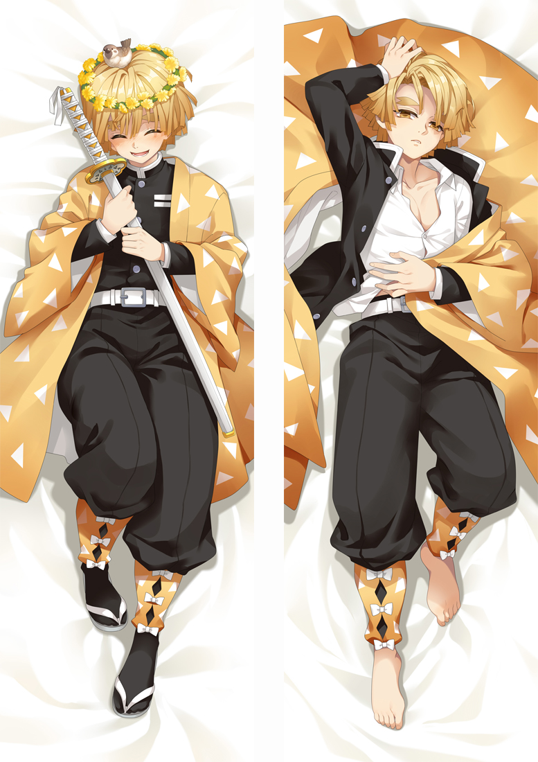 Demon Slayer: Kimetsu No Yaiba Agatsuma Zenitsu Cosplay Dakimakura Pillow Case Hugging Body