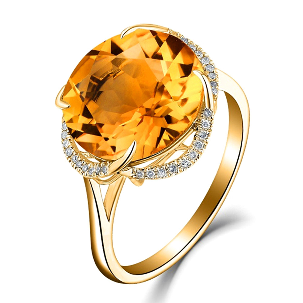 Citrine amethyst aquamarine gemstones crystal Rings for women 18k Gold color zircon diamond party jewelry bijoux bague gift