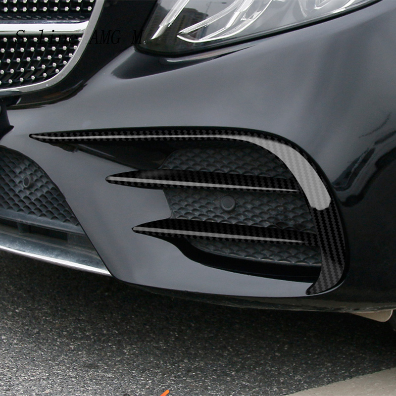 Car Styling For Mercedes Benz C Class W205 C43 C63 For AMG Front Fog Light Lamp Carbon Fiber Trim Cover Sticker Auto Accessories