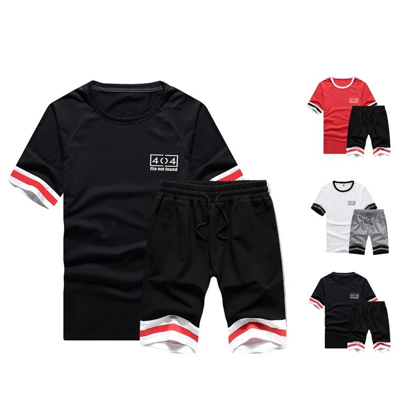 Men/'s Tracksuit Set Summer Short Sleeve T-Shirt Tops Shorts Casual Jogging Suit